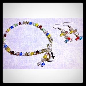 Jewelry - ✨Crystal Beaded Moon & Stars Bracelet & Earrings🌙